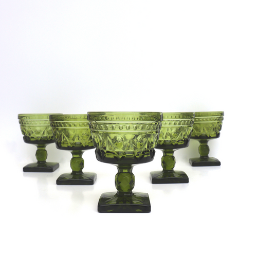 Indiana Glass Park Lane Green Glasses: Set of 6