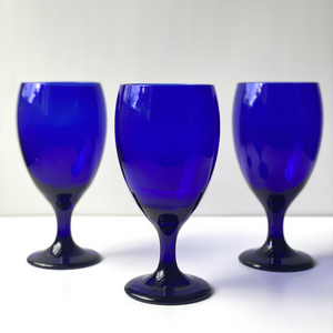 Tear Drop Cobalt Blue Goblets: Set of 10