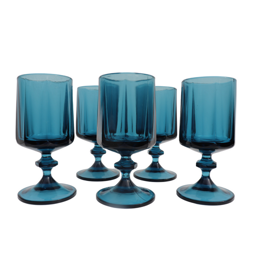 Blue Mini Wine Glasses: Set of 5