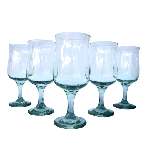 Light Green Crystal Wine Glasses: Set of 8