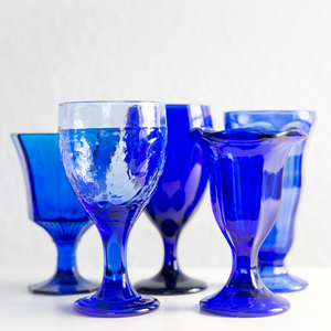 Mixed Cobalt Blue Goblets: Set of 5