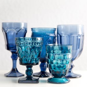 Mixed Blue Goblets: Set of 6