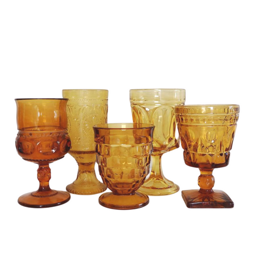 Mixed Amber Water Goblets: Set of 6