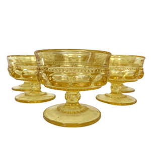 Kings Crown Yellow Sherbet Dishes: Set of 5
