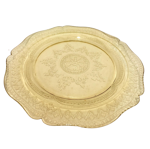 Patrician Yellow Depression Glass Serving Plate