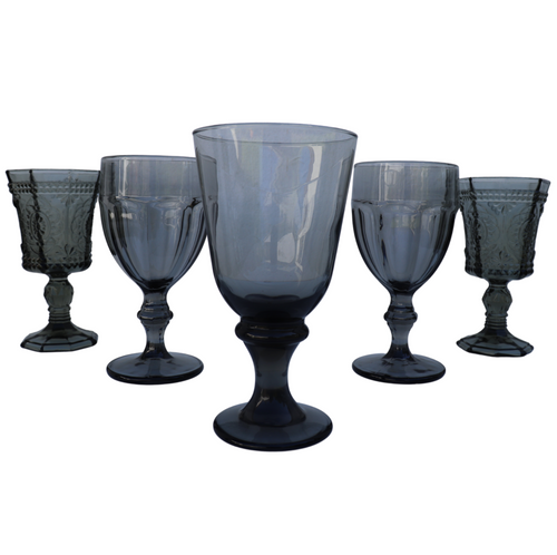 Mixed Smoked Ash Goblets: Set of 5