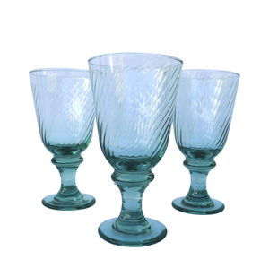 Swirled Light Green Water Goblets: Set of 6