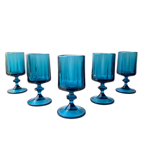 Navy Blue Water Goblets: Set of 6