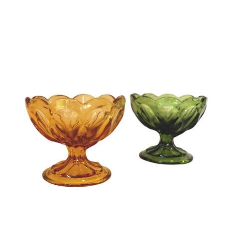 Amber & Green Pedestal Glass
