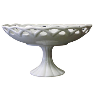 Colony Lace Milk Glass Pedestal Stand