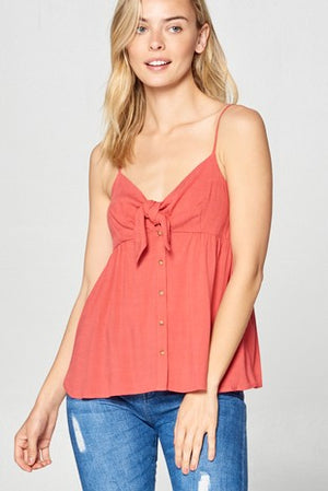 Front Tie Button Detail Tank