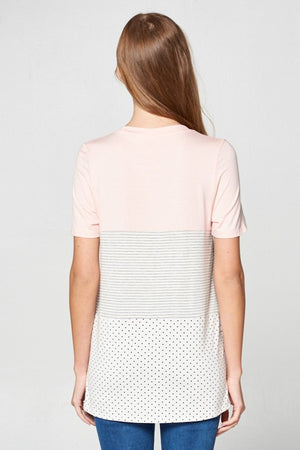 Pattern Block Stripes/Polka Dot Top