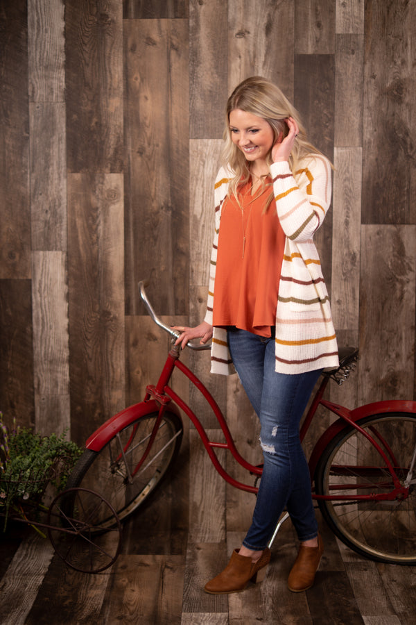 Multi Color Striped Cardigan