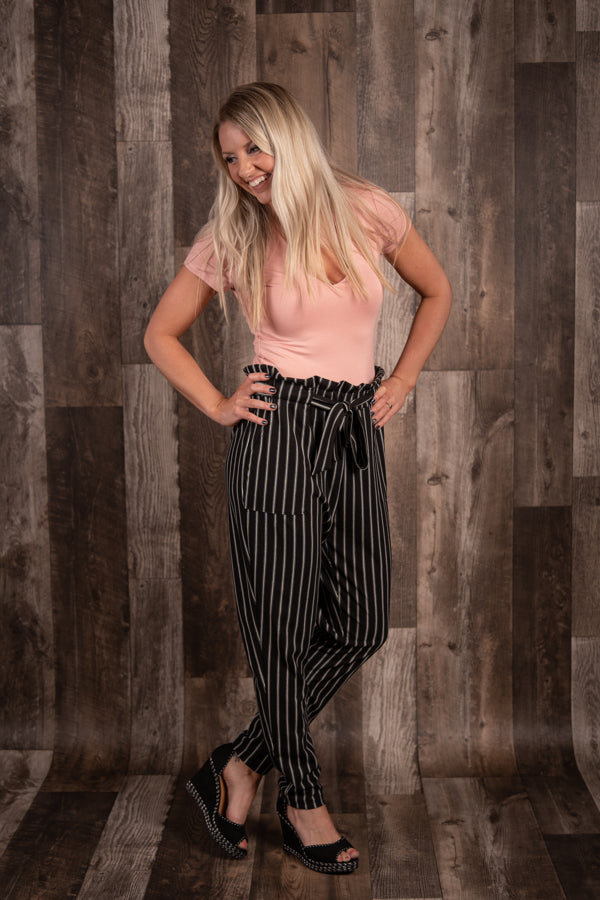 Striped Paper Bag Waist Trousers