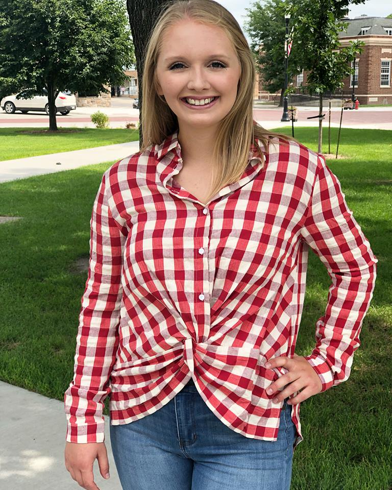 Gingham Front Twist Top