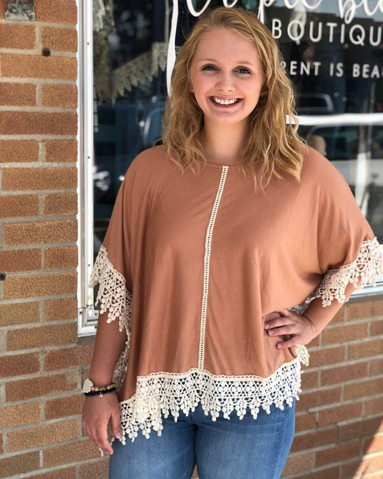 Solid Poncho with Lace Hem