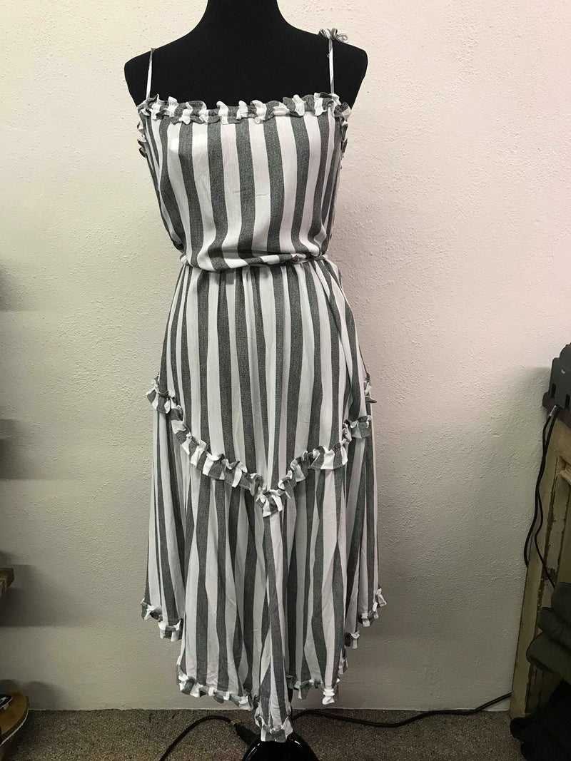 Striped Open Shoulder Ruffle Dress