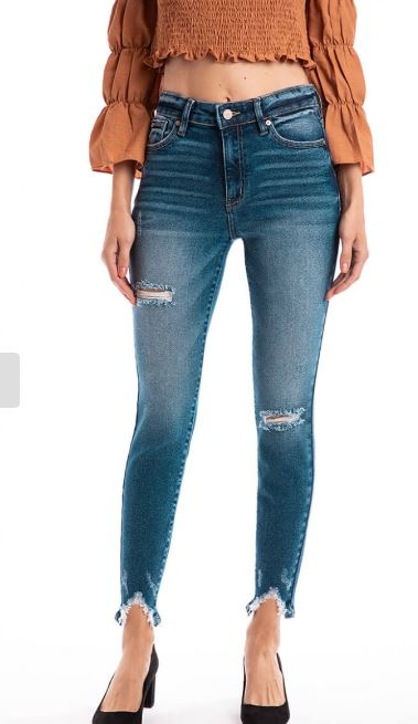 Gemma High Rise Ankle Distress Skinny
