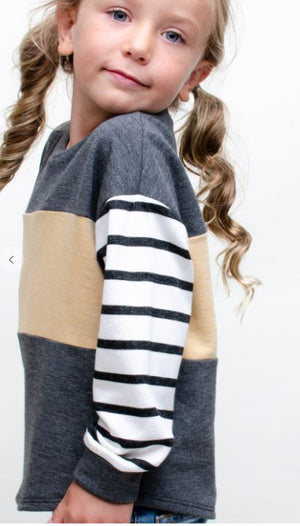 KIDS COLOR BLOCK STRIPED SLEEVE TOP