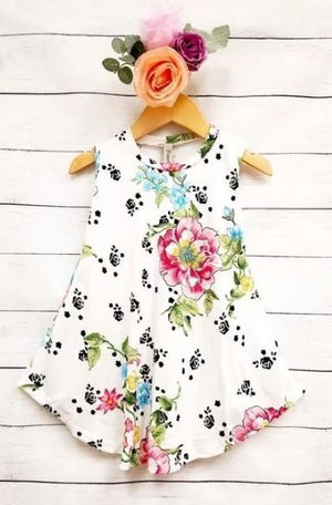 Floral Tunic Dress- Ivory