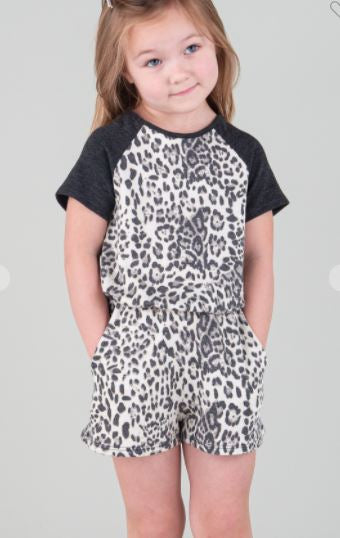 ANIMAL PRINT ROMPER WITH SIDE POCKET