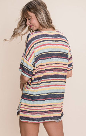 Spring Striped Round Neck Tee