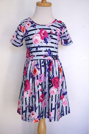 Floral Stripe Girls Dress
