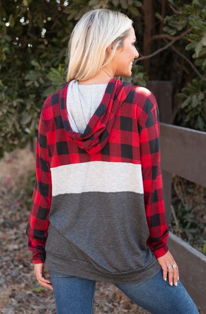 Buffalo Plaid Color Block Hoodie