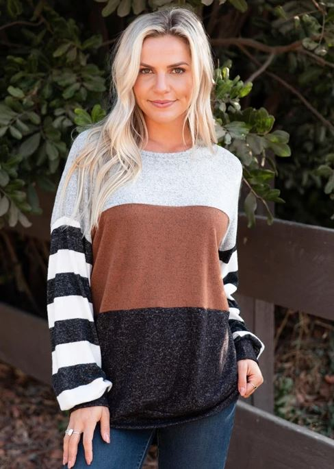 Camel Color Block Striped Sleeve Sweater