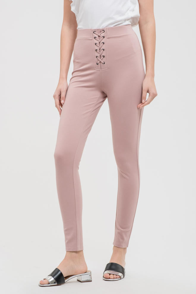 High Rise Lace Up Jeggings