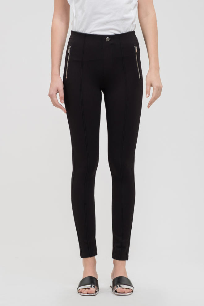Side Zipper Jeggings-Black