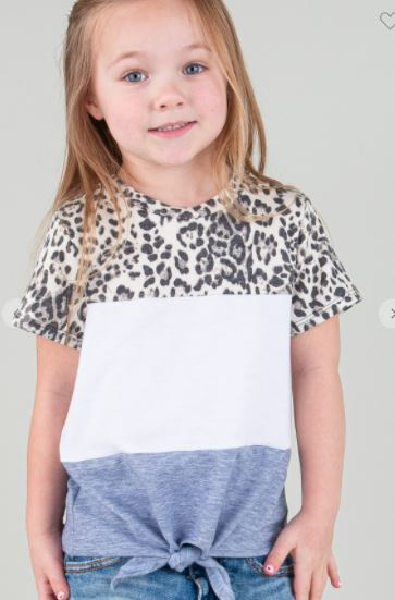 KIDS COLOR BLOCK FRONT TIE TOP
