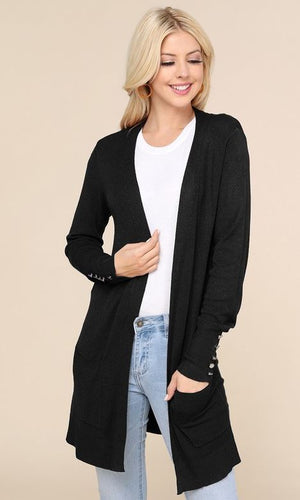 Cardigan w/button snap Sleeve