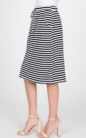 Striped Drawstring Skirt