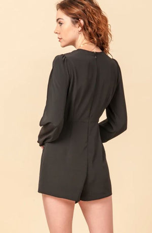 Ruched Long Sleeve Romper