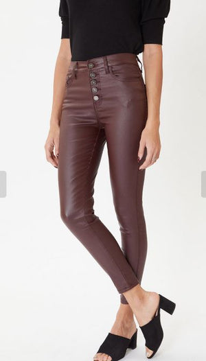 High Rise Burgundy Faux Leather