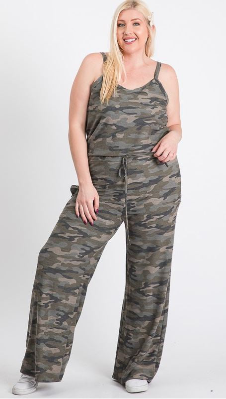 Camo Print Jumpsuit-Plus