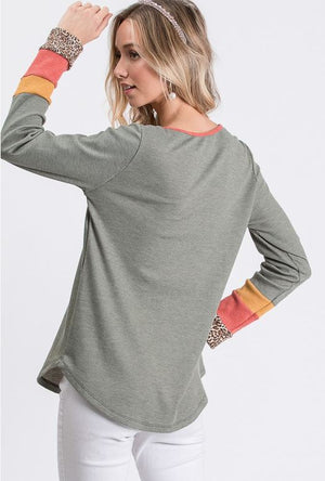 Button Front Color Block Sleeve