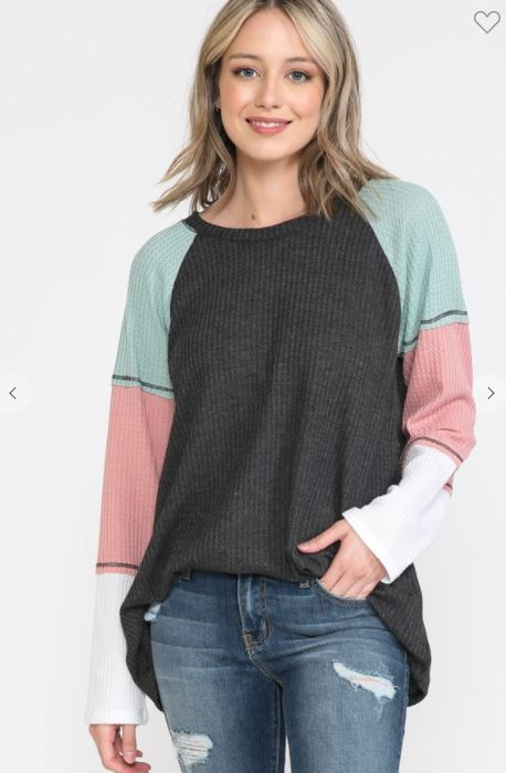 Solid waffle knit w/color block sleeves