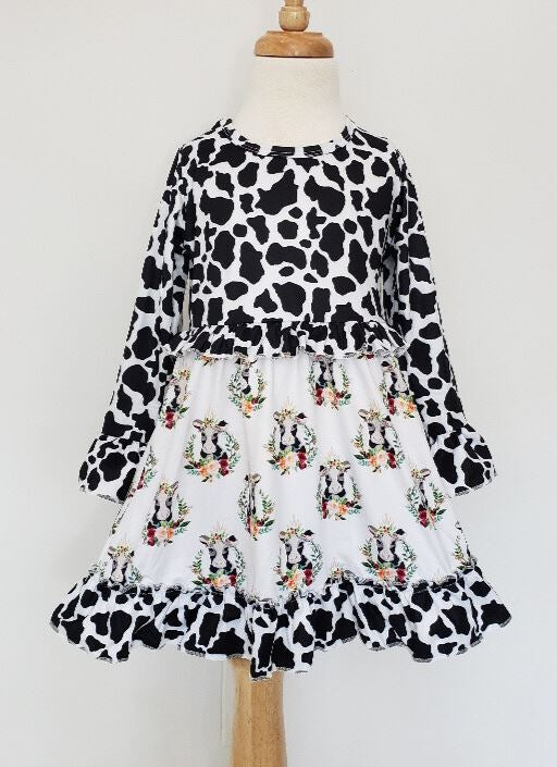 Cow Floral Dress Girls