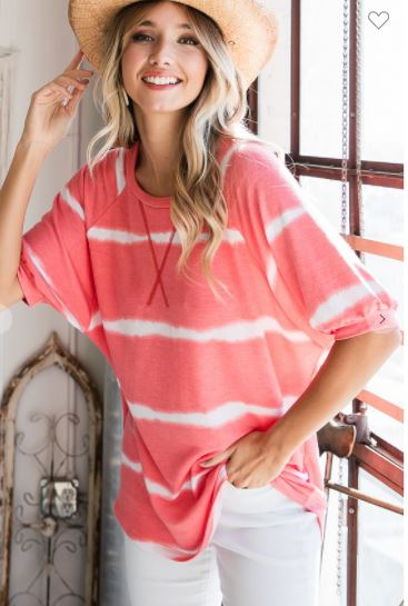 STRIPE TIE DYE RAGLAN SLEEVE TOP
