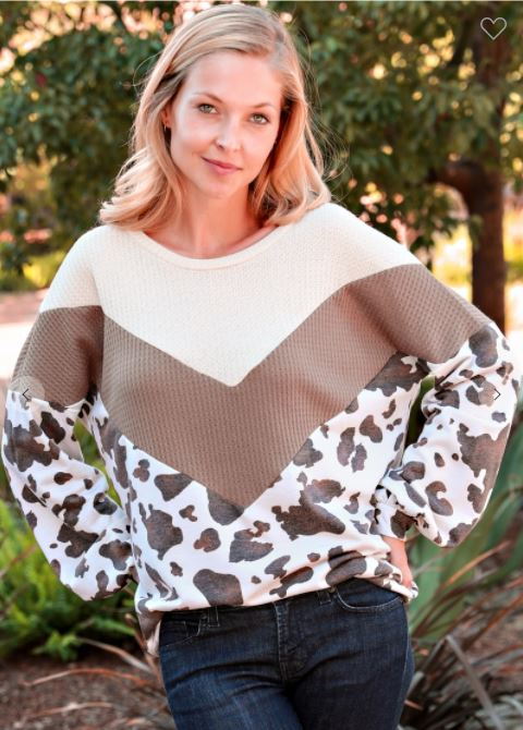 Chevron Animal Print Puff Sleeve Top