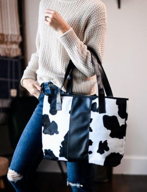 COW PRINT PLUSH TOTE BAG-BLACK/WHITE