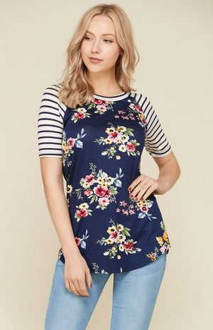 Floral Stripe S/S Baseball Tee-4585