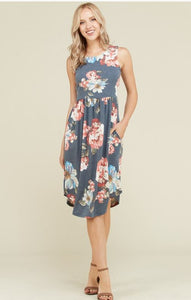 Floral Sleeveless Dress-8501