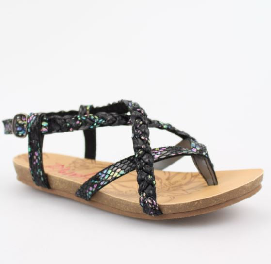 BLACK BRAIDED RAINBOW KIDS SANDAL