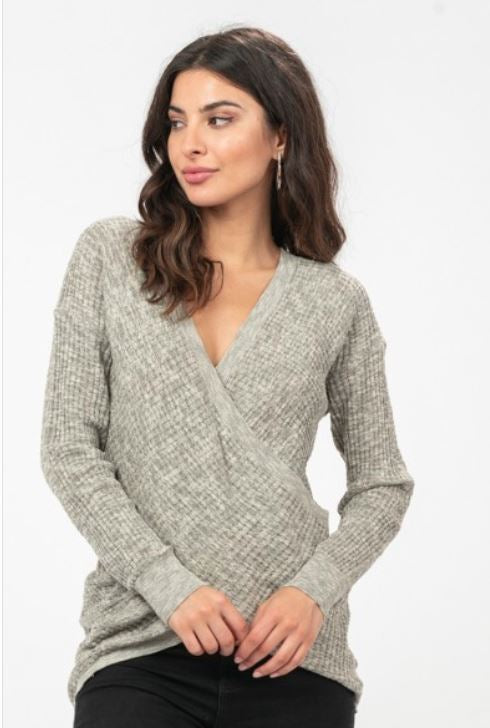 Heathered Faux Wrap Sweater