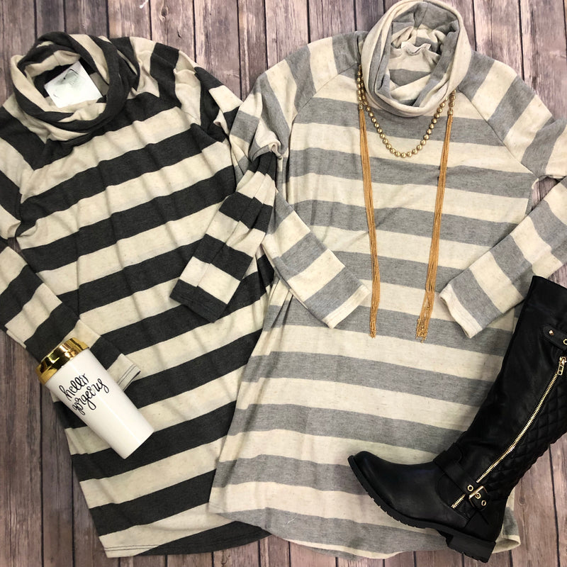 Cowl Neck Striped Sweater Dress