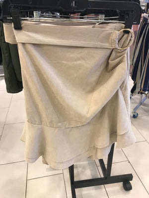 Buckle Belted Skirt