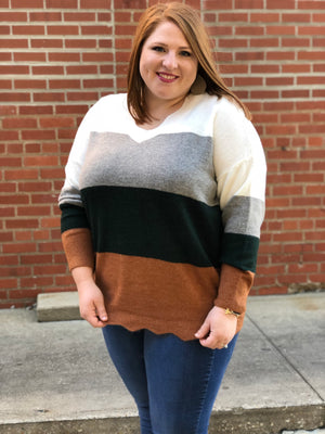 Scallop Edge V Neck Sweater